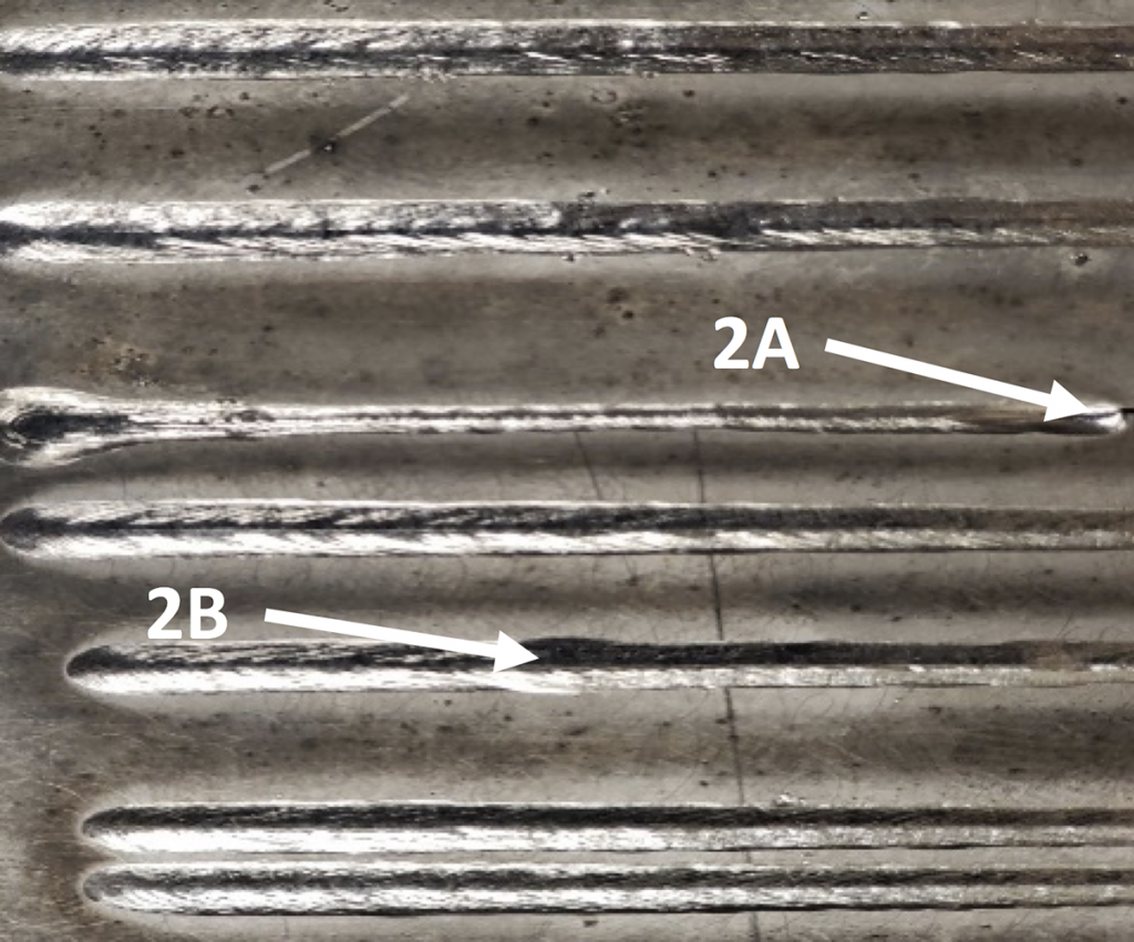 Examples of weld beads produced with non-optimum wire speed.