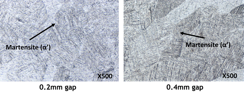 Typical microstructures of the fusion zone