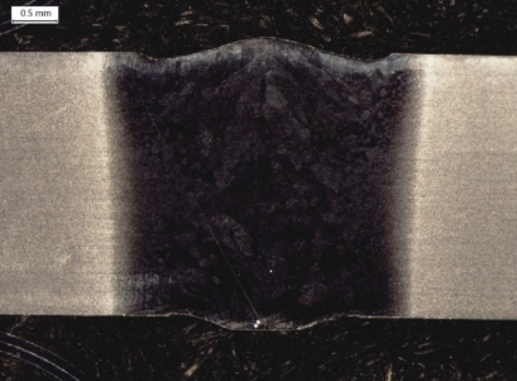 Example of an underfill defect in a laser butt weld
