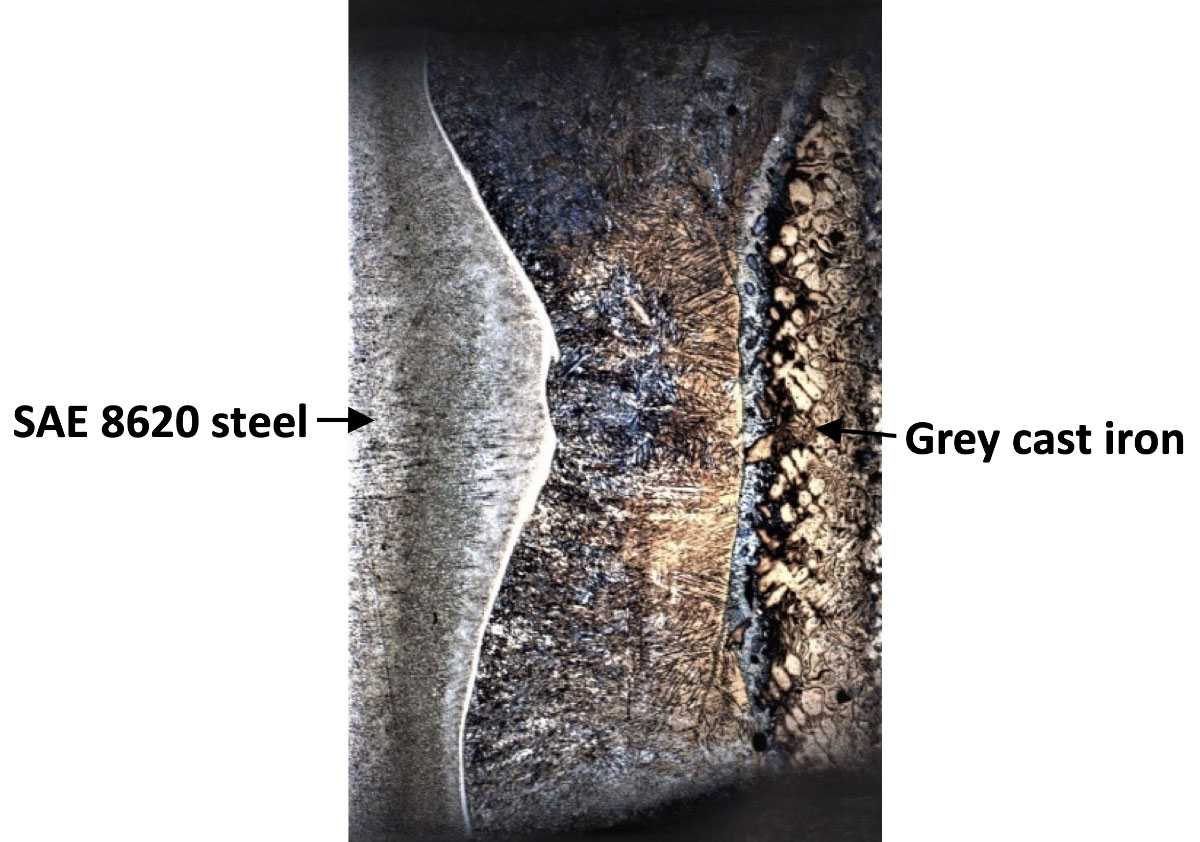 butt joint between SAE 8620 harden steel and grey cast iron