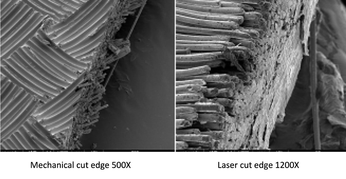 Edge cut quality comparison between mechanical cut and laser cut